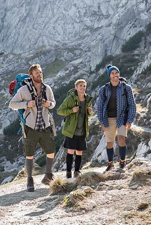 Men wearing the Juzo Adventure compression stocking
