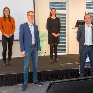 von links: Dr. med. Marie Luise Schiffmann, Prof. Dr. med. Tobias Görge, Caroline Mitschang und PD Dr. med Dr. rer. Nat. Jan Ehrchen
