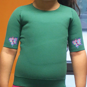 green thorax segment with butterfly iron-on patch