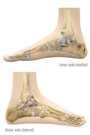 View of foot from two sides