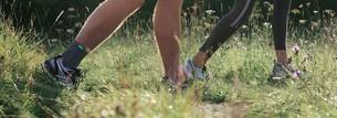 Man jogging in a meadow