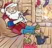 Weihnachtsmann und zwei Elfen am Kaminfeuer