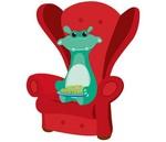 Strijkplaatje Julius in de stoel